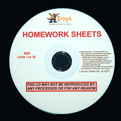 Red Homework Sheets CD