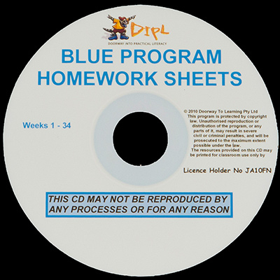 Blue Homework Sheets CD