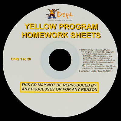 Yellow Homework Sheets CD